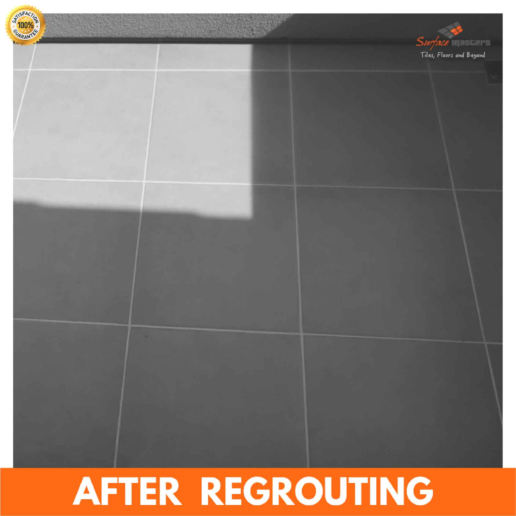 after pic of grouting services, Re-grouting and repair of tiled floor
