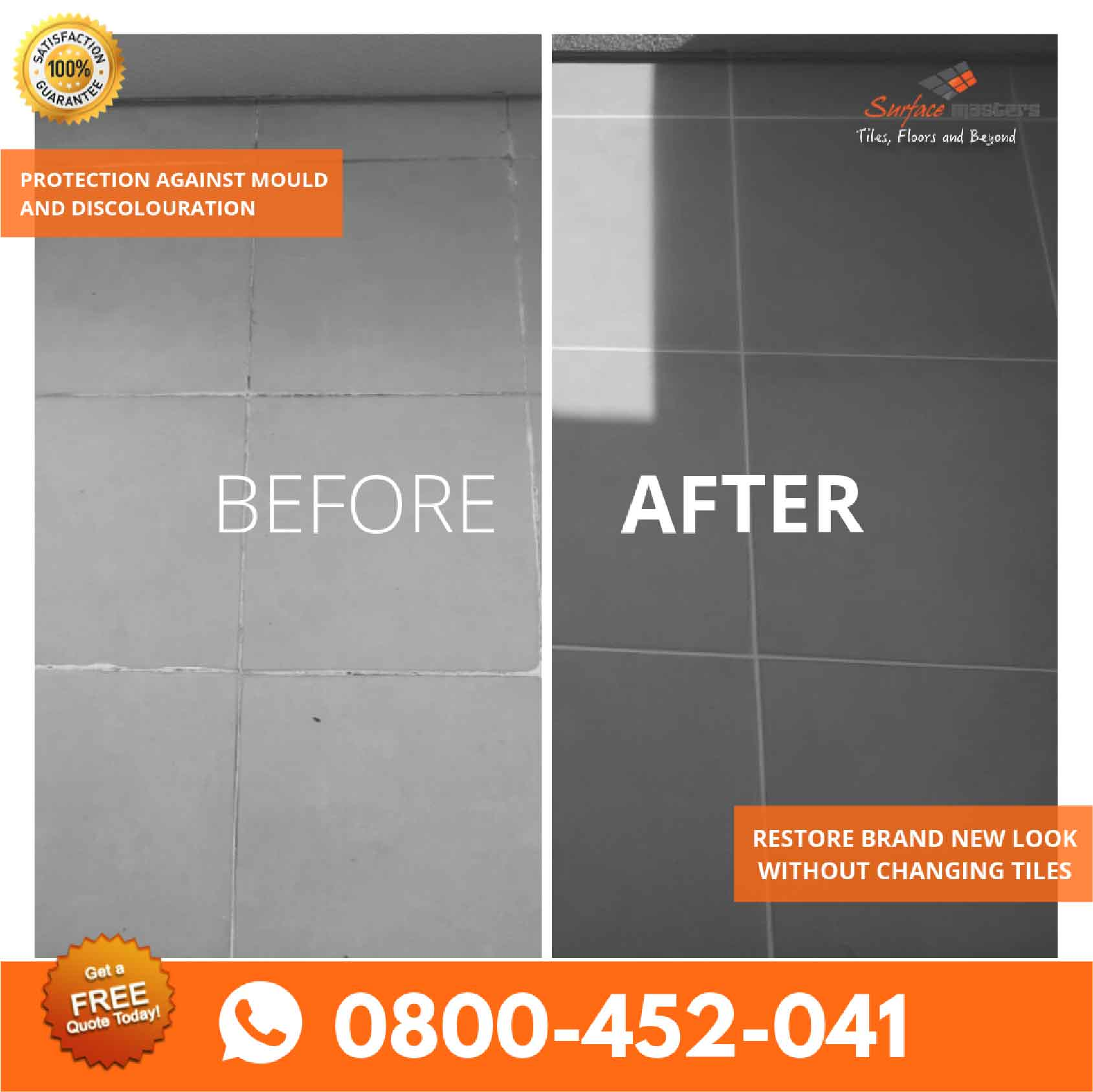Transformation of grouting services and repair of tiles with surface masters logo