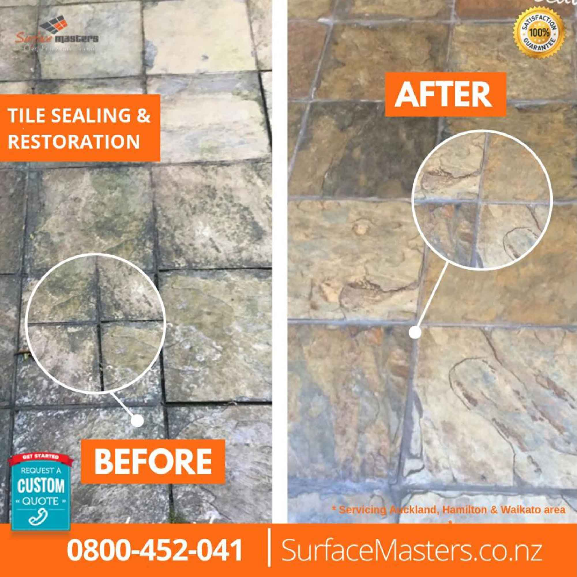 Tile sealing transformation on tiles before and after
