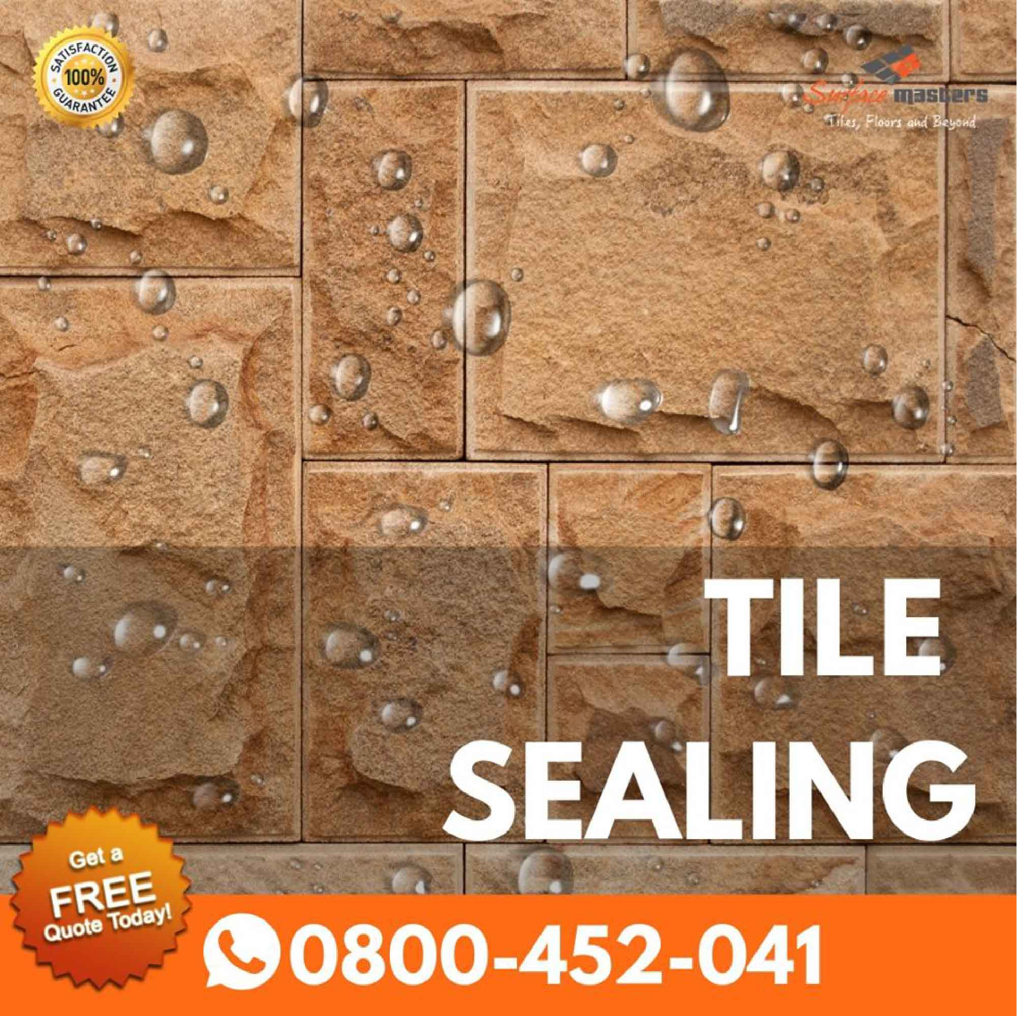 Tile sealing image with water drops on tiles