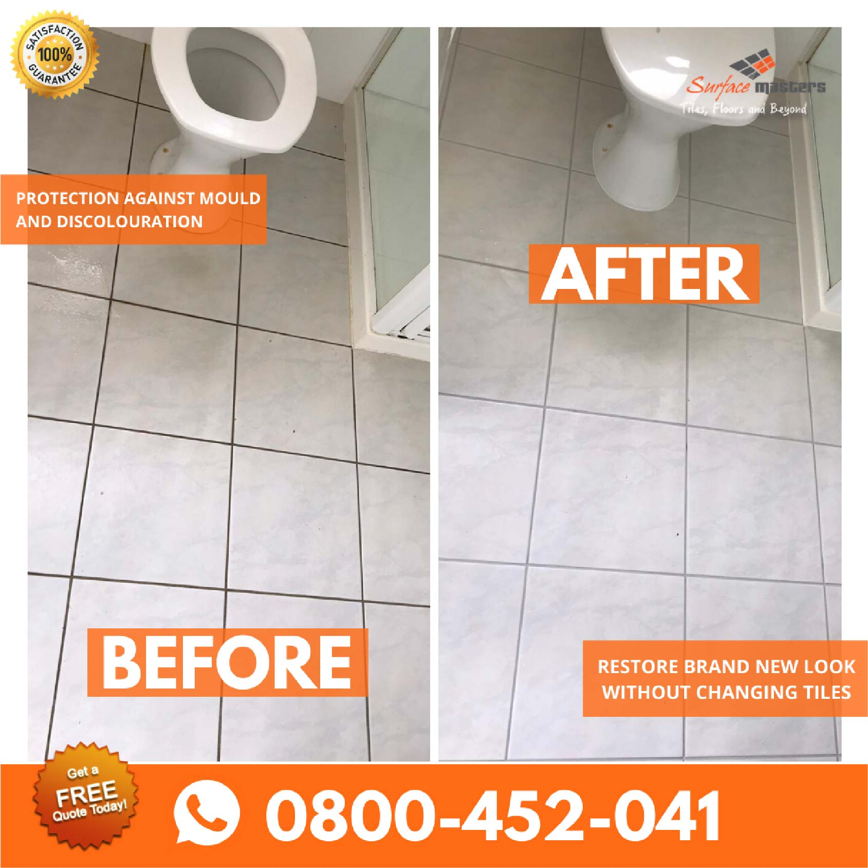 Transformation of Tiled floor after tile and grout cleaning services