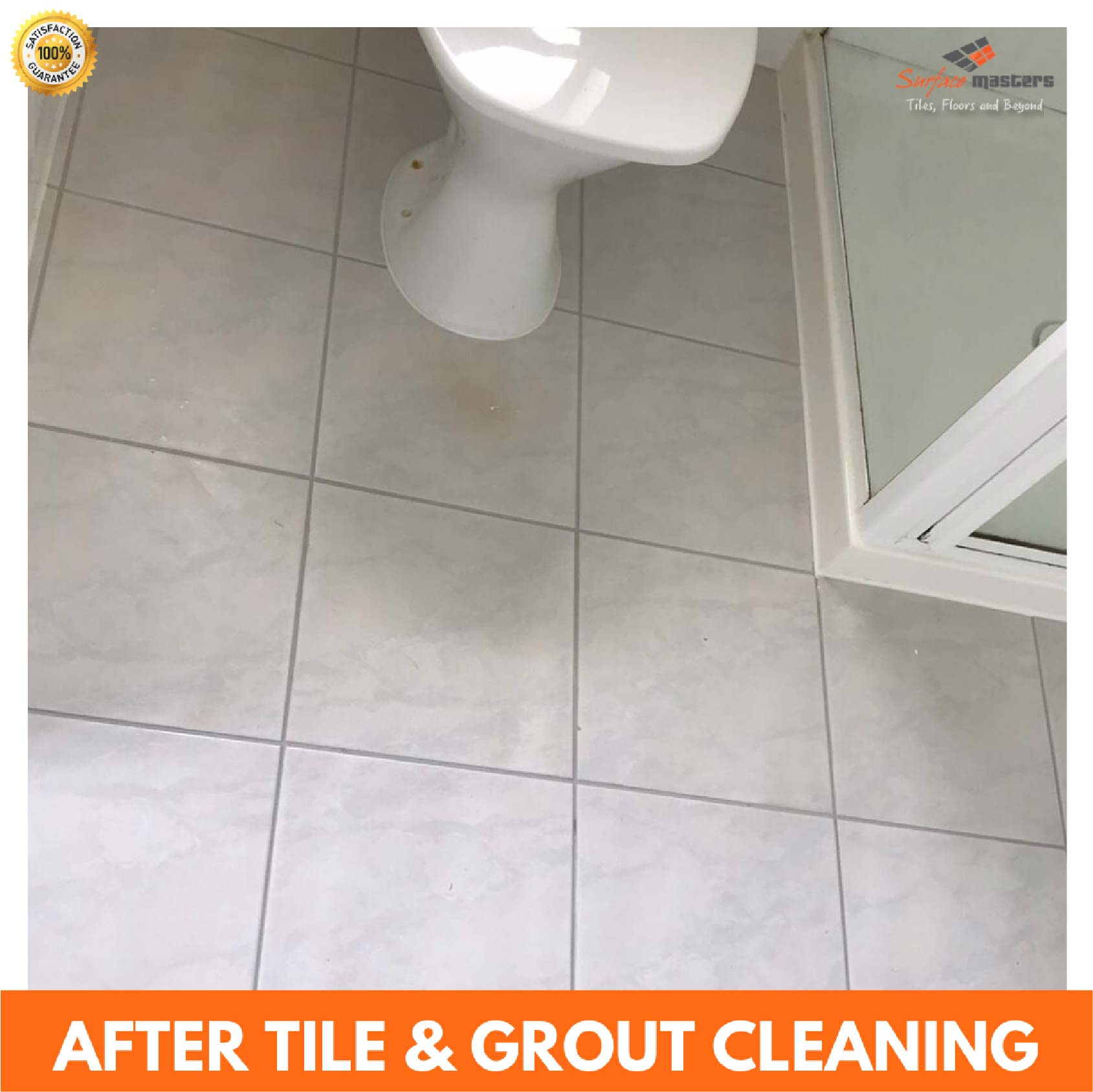 after pic of grout cleaner, tile cleaner and restoration of tiled floor with surface masters logo
